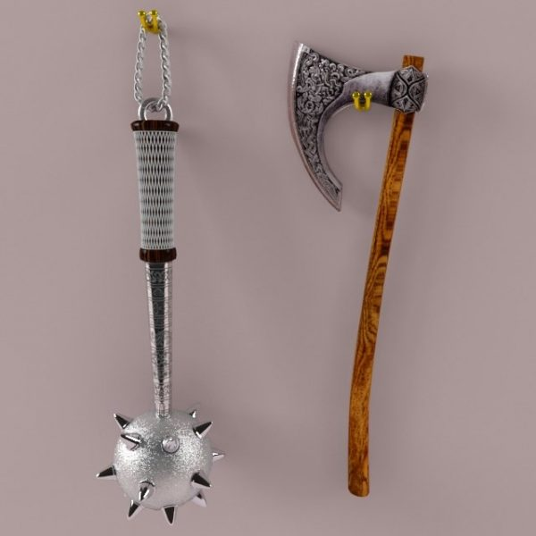 002-3d Models-Weaponry-Mace and Axe Wall Decor