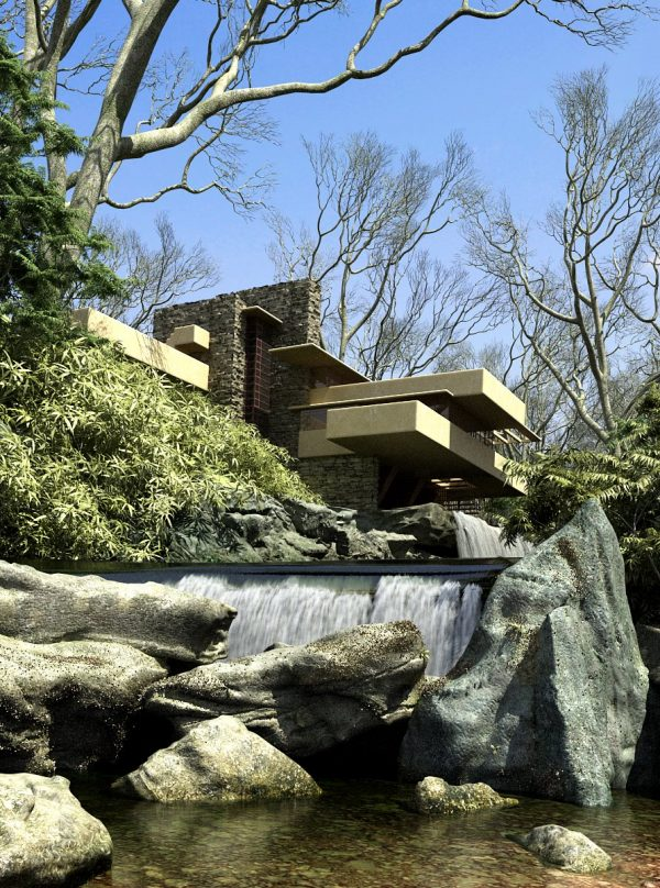 Falling Water  By Frank Louyd Wright Exterior Scene  003