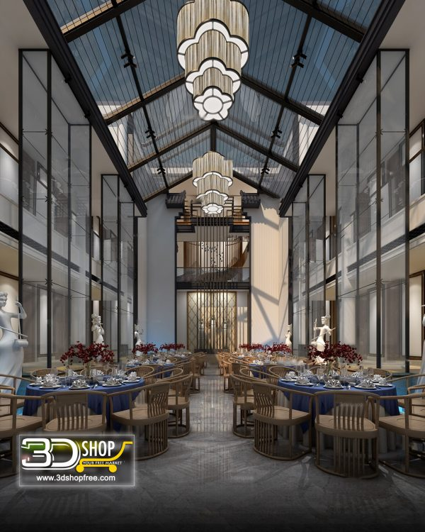 Chinese style Cafe & Restaurant Interior Scene 031