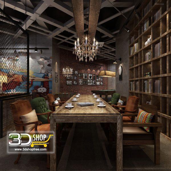 Industrial style Cafe & Restaurant Interior Scene 084