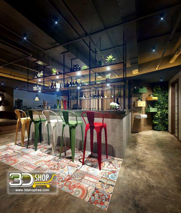 Cafe Interior Scene Free Download 098