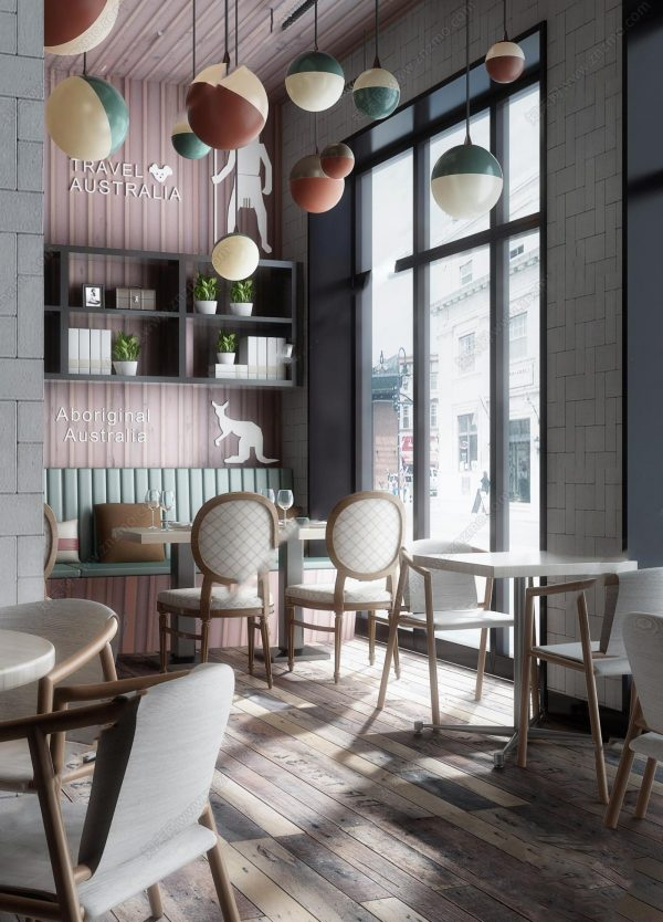 Modern style Cafe & Restaurant Interior Scene 160