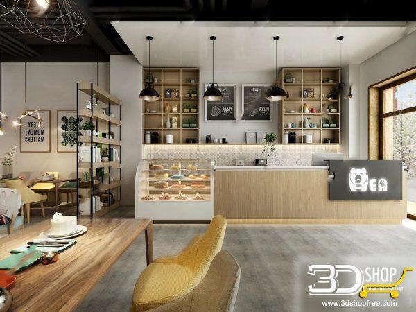 Modern style Cafe & Restaurant Interior Scene  231