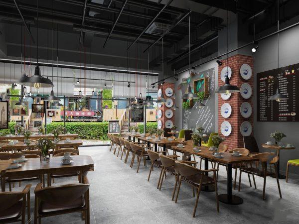 Modern style Cafe & Restaurant Interior Scene 236