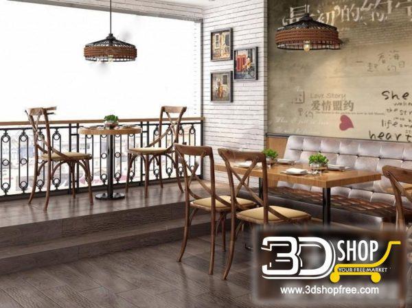 Modern style Cafe & Restaurant Interior Scene 237