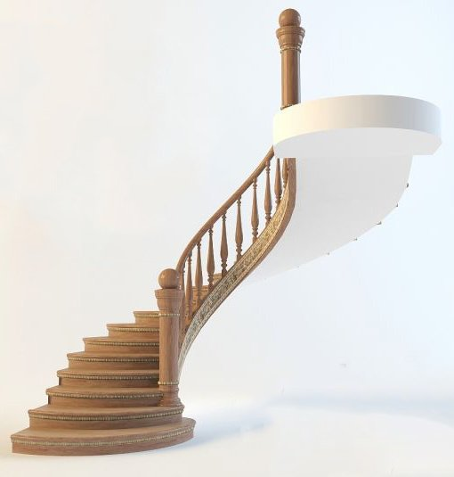 Curved Stair 3d Model 001