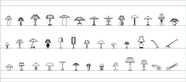 002-Lighting-Table Lamps-Cad-Blocks