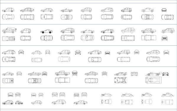 002-Vehicles-Cad-Blocks-Cars-Elevation & Plan