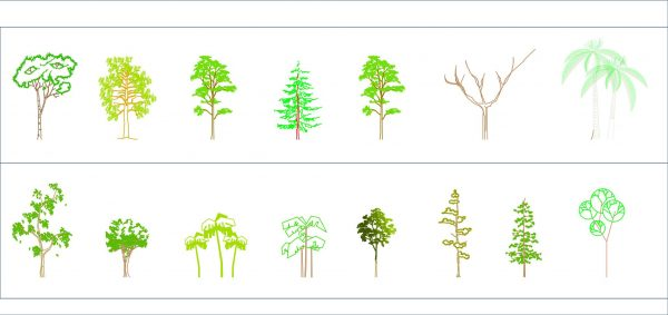 003-Vegetation-Cad-Blocks-Color-Trees-Elevation