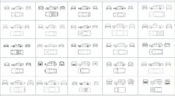 003-Vehicles-Cad-Blocks-Cars-4 Views