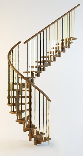 004-3d Models-Staircase-Curved Stairs