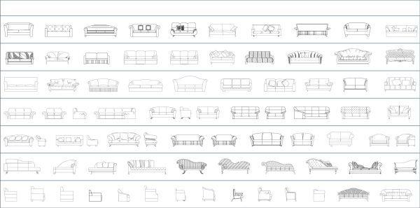 005-Furniture-Cad-Blocks-Sofas-Elevation
