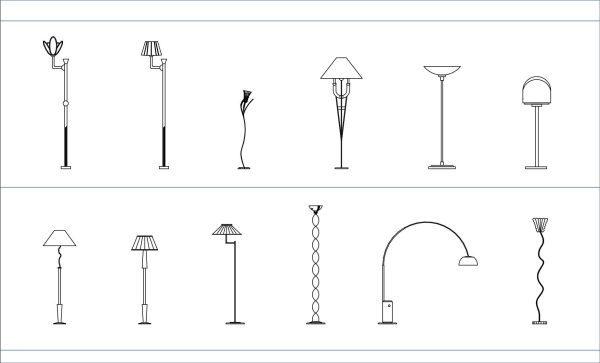 005-Lighting-Floor Lamps-Cad-Blocks