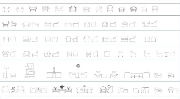 009-Furniture-Cad-Blocks-Armchairs-Elevation