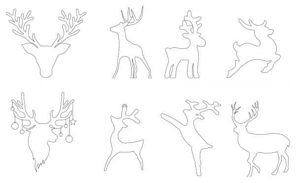 Reindeer Outline Cad Blocks 001