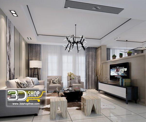 Living Room 3d Max Interior Scene 063