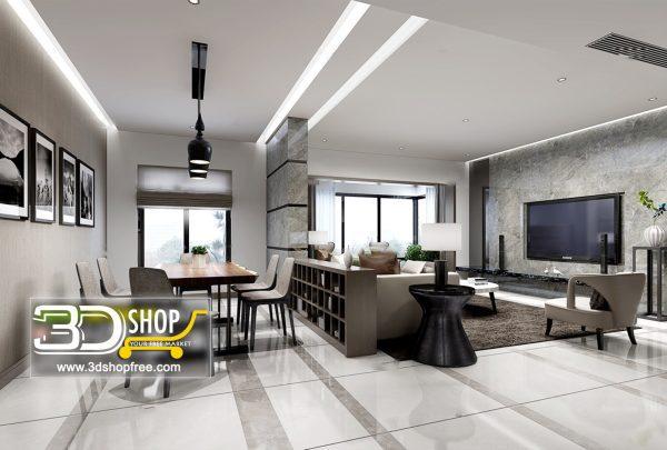 Living Room 3d Max Interior Scene 071