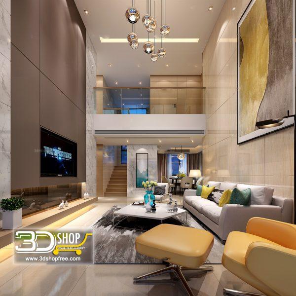Living Room 3d Max Interior Scene 073