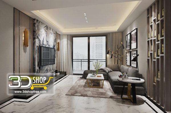 Living Room 3d Max Interior Scene 078