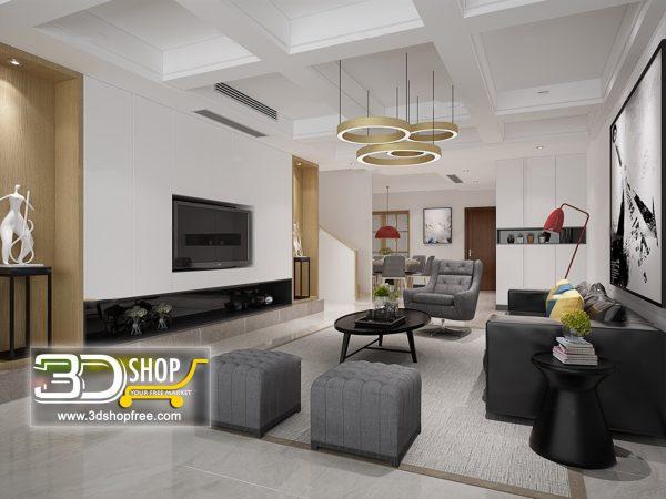 Living Room 3d Max Interior Scene 081