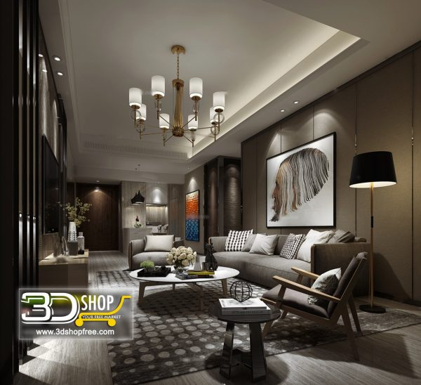 Living Room 3d Max Interior Scene 099