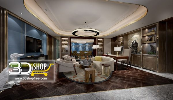 Living Room 3d Max Interior Scene 109