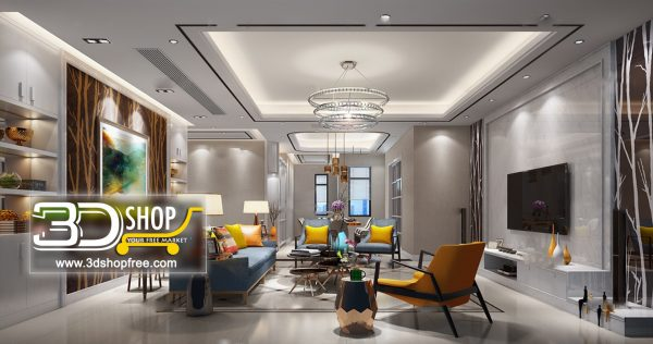 Living Room 3d Max Interior Scene 119