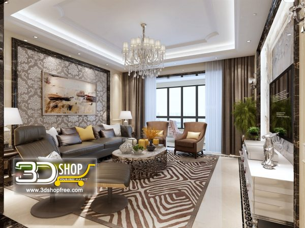 Living Room 3d Max Interior Scene 120