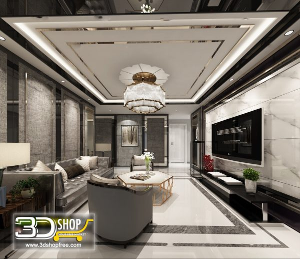 Living Room 3d Max Interior Scene 124