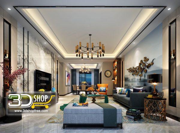 Living Room 3d Max Interior Scene 146