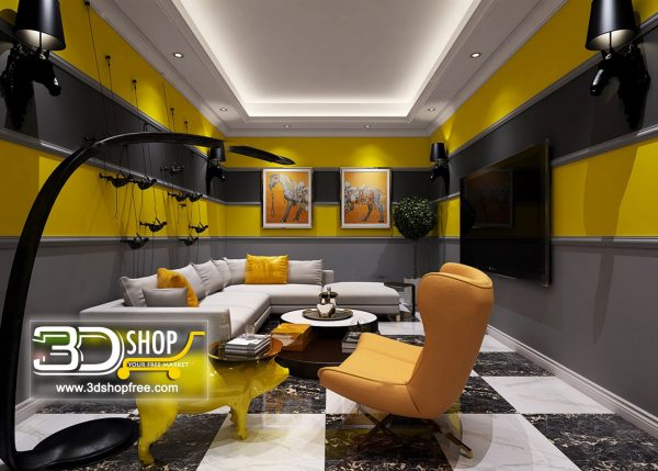 Living Room 3d Max Interior Scene 150