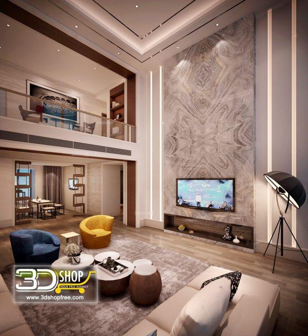 Living Room 3d Max Interior Scene 165