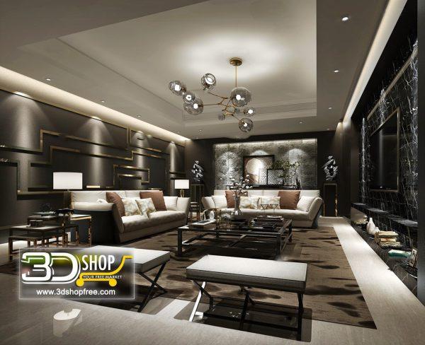 Living Room 3d Max Interior Scene 167