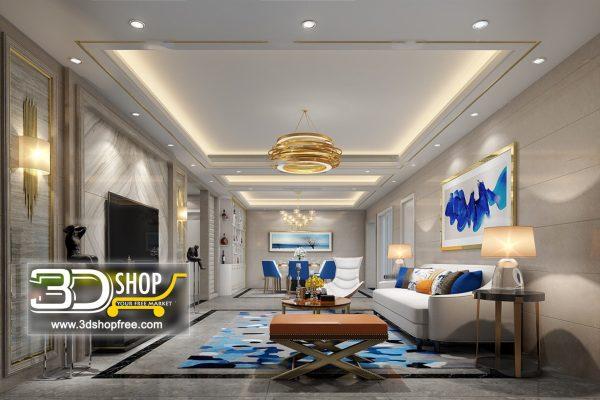 Living Room 3d Max Interior Scene 168
