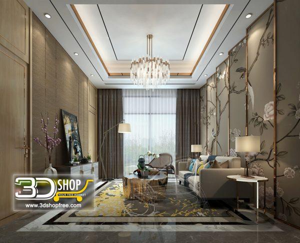 Living Room 3d Max Interior Scene 178