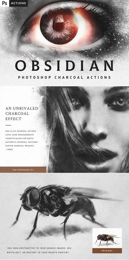 051 OBSIDIAN Charcoal Photoshop Actions 4530907