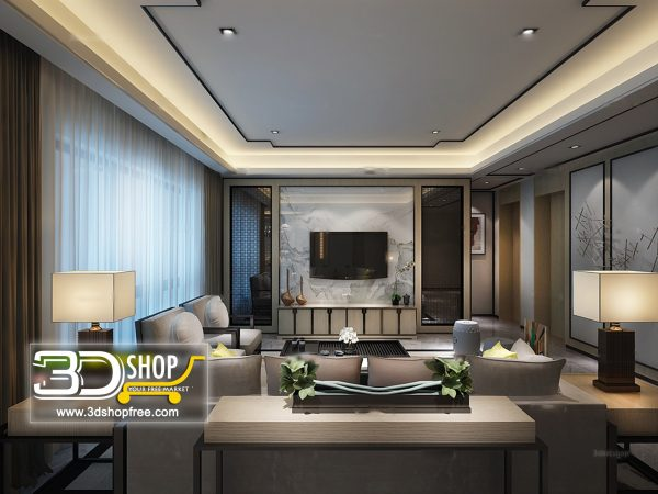 Living Room 3d Max Interior Scene 247