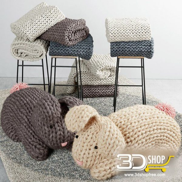 Knitted Hare Home Decor 3d Model 012