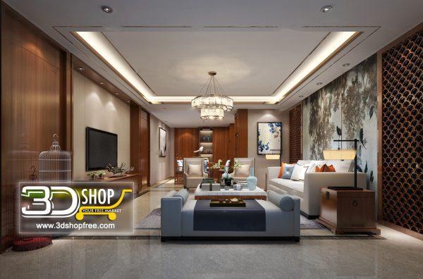 Living Room 3d Max Interior Scene 254