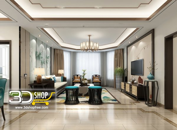 Living Room 3d Max Interior Scene 259