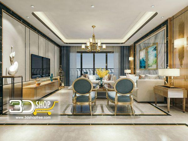 Living Room 3d Max Interior Scene 269