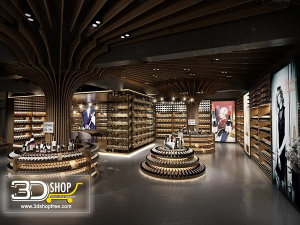 Wine Shop Interior Scene 012