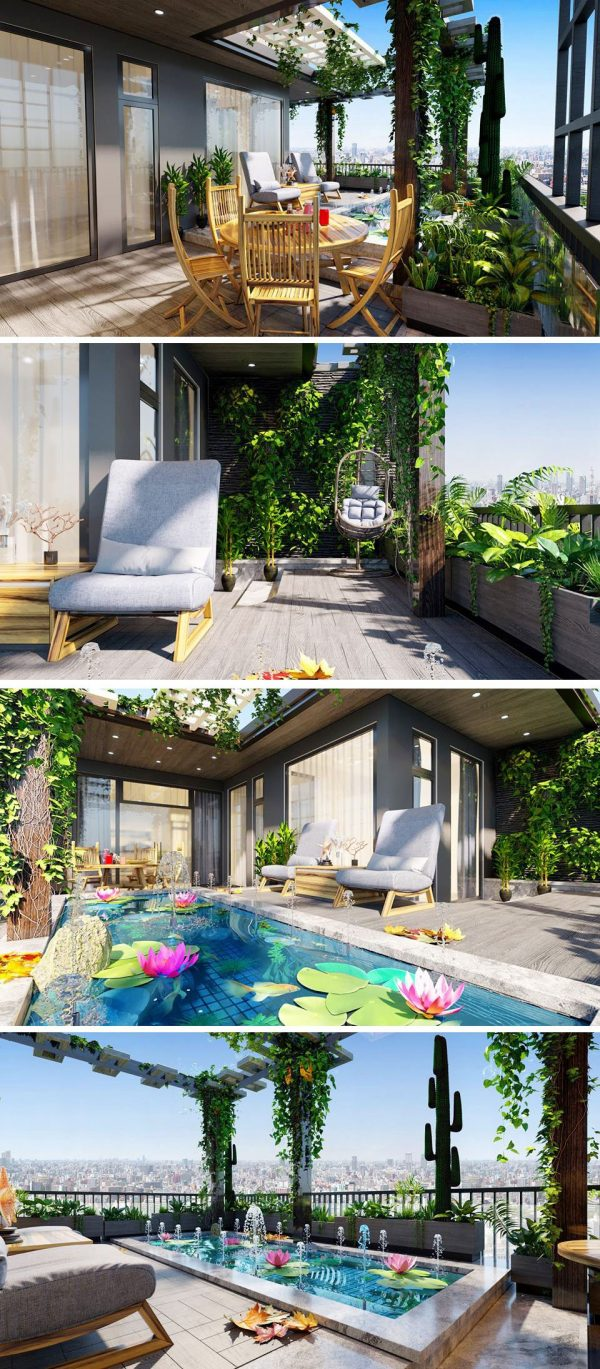 Terrace and Swimming Pool 3d Max Corona Render  024