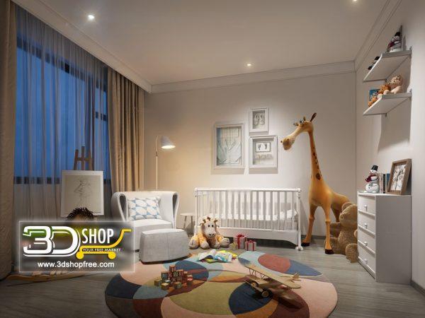 Kids Bedroom 3d Max Interior Scene 032