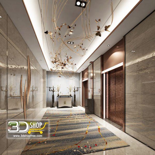 036 Elevator Lobby 3d Max Interior Scene