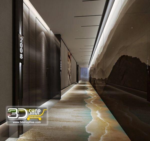 040 Elevator Lobby 3d Max Interior Scene