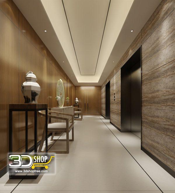 041 Elevator Lobby 3d Max Interior Scene