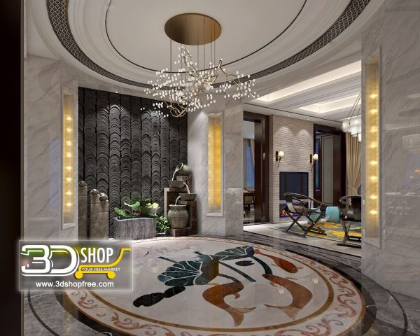 042 Hotel Lobby 3d Max Interior Scene