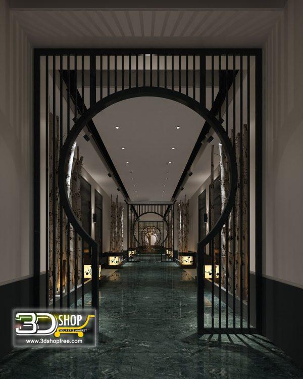 043 Hotel Lobby 3d Max Interior Scene