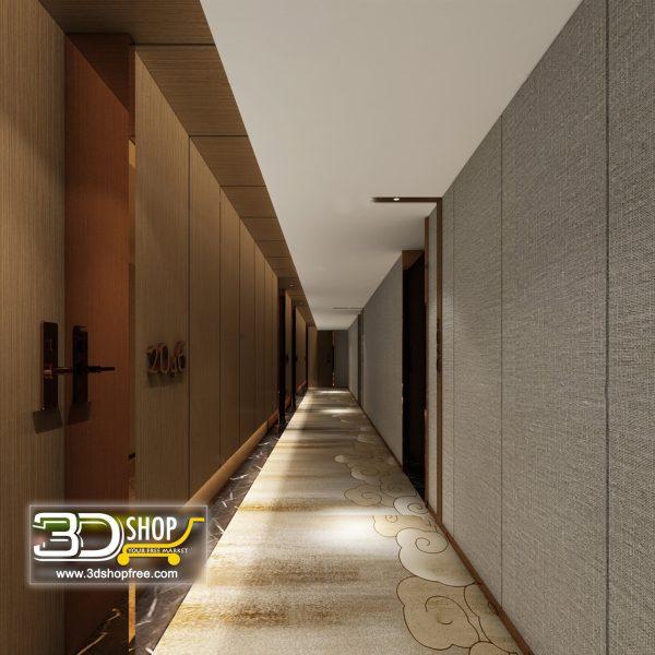 047 Hotel Corridor 3d Max Interior Scene